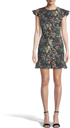Nicole Miller Moonlit Garden Ruffle Hem Dress