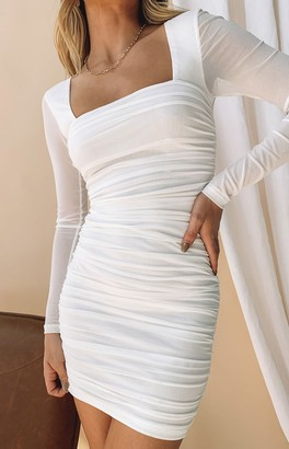 Beginning Boutique Estee Long Sleeve Mesh Party Dress White