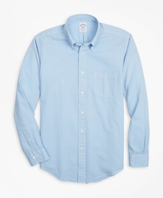 Brooks Brothers Regent Fit Garment-Dyed Seersucker Sport Shirt