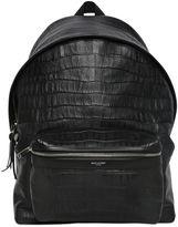 Saint Laurent Croc Embossed Leather Backpack
