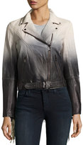 Haute Hippie Fringe-Trim Ombré Leather Jacket, White/Black