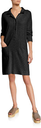 Joan Vass Plus Size 3/4-Sleeve Button-Front Cotton Interlock Shirtdress w/ Pockets