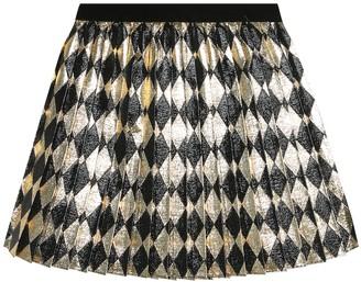 Gucci Kids Checked metallic skirt