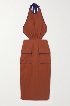 STAUD Apfel Two-tone Linen-blend Halterneck Midi Dress - Tan