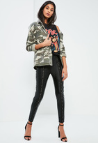 Missguided Black Faux Leather Hook And Eye Front Leggings