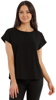 Basque Short-Sleeve Top With Button Detail