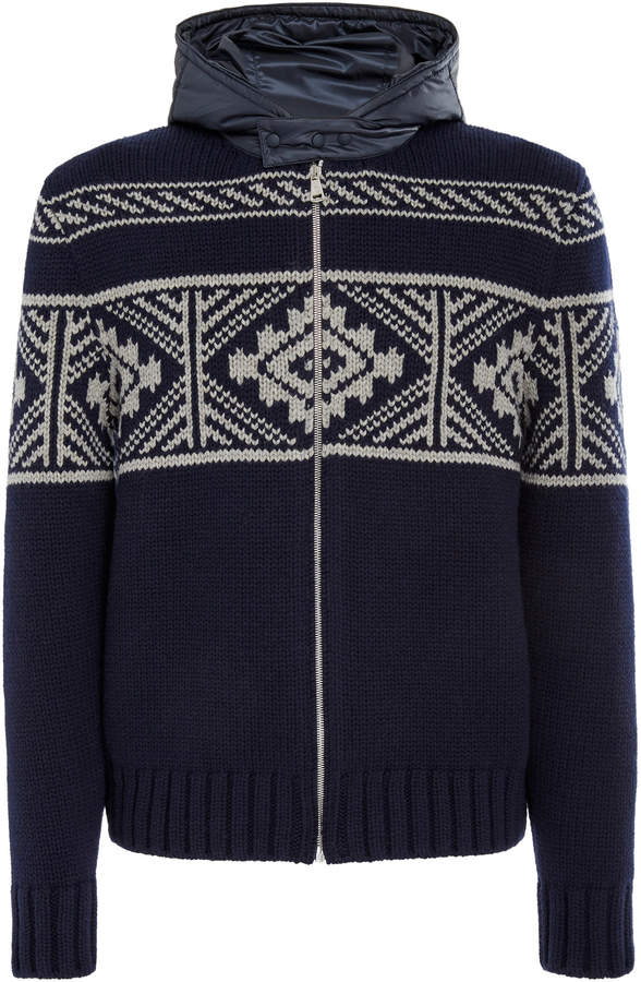 Ralph Lauren Fair Isle Hooded Cashmere Zip Sweater