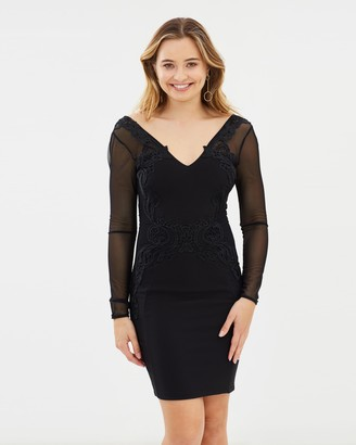 Lipsy Lace Trim Long Sleeve Bodycon Dress