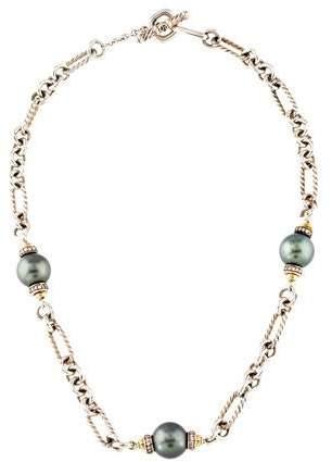 David Yurman Pearl & Diamond Figaro Necklace