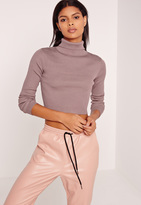 Missguided Purple Basic Turtle Neck Long Sleeve Cropped Sweater