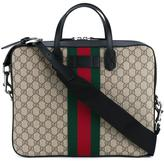 Gucci web GG laptop bag - men - Cotton/Leather - One Size