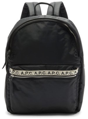 A.P.C. Repeat Logo-trim Padded-nylon Backpack - Black