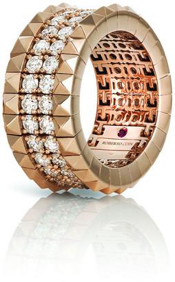 Roberto Coin 18k Rose Gold Diamond & Stud Ring, Size 7