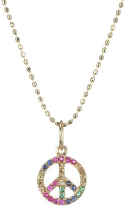 Sydney Evan 14K Yellow Gold & Rainbow Gemstone Mini Peace Sign Charm