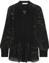 Chloé Pintucked Metallic Fil Coupé Silk-chiffon Blouse - Black