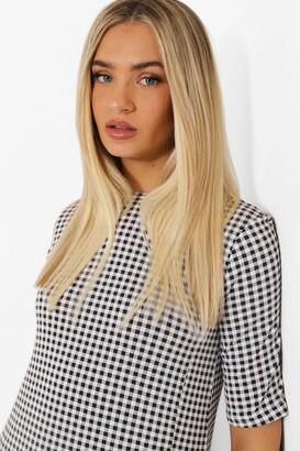 boohoo Gingham Split Detail T Shirt Dress