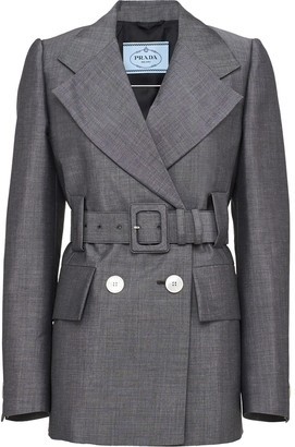 Prada Double-Breasted Belted Blazer