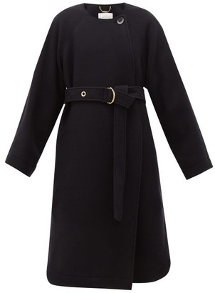 Chloé Festive Belted Wool-blend Coat - Womens - Navy
