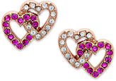 Juicy Couture Earrings, Rose Gold-Tone Pave Double Heart Stud Earrings
