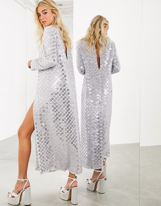 ASOS EDITION split front maxi dress with mirror disc sequins