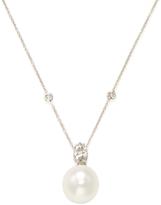 18K White Gold, White South Sea Pearl & 1.31 Total Ct. Diamond Pendant Necklace