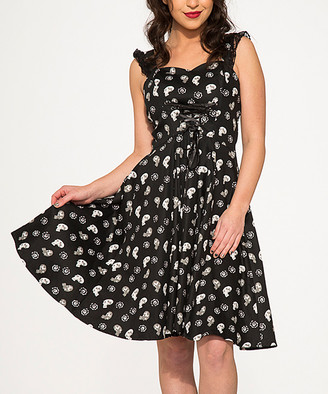 Hearts & Roses London HEARTS & ROSES LONDON Women's Special Occasion Dresses Black - Black Skull Corset-Front Sleeveless Fit & Flare Dress - Women