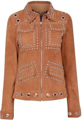 Zut London Suede Leather Studded Fitted Biker Jacket Honey