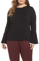 Vince Camuto Plus Size Women's Tipped Bell Sleeve Top