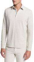 Loro Piana Comfort Piqué; Long-Sleeve Polo Shirt, Silver Gray