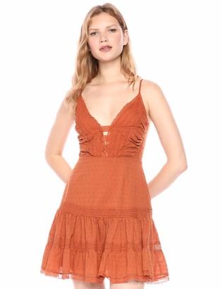 ASTR the Label Women's Pauline Sleeveless LACE Ruffle Drop Waist Short Dress