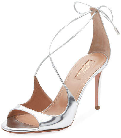 Aquazzura Sofia Metallic Ankle-Tie Sandal