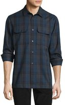 Vince Plaid Flannel Military Shirt, Blue/Gray
