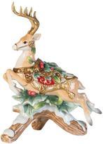 Fitz & Floyd Yuletide Holiday Reindeer Candleholder - Left
