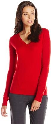 Lark & Ro Amazon Brand Women's 100% Cashmere Soft Side-Stitch V-Neck Sweater