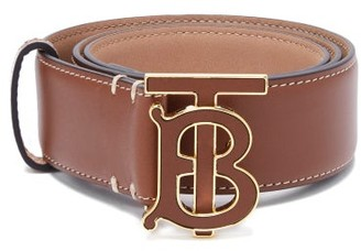 Burberry Tb-buckle Leather Belt - Womens - Tan