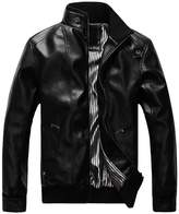 Sawadikaa Men's Leisure PU Faux Leather Jacket Windbreaker Motor Jacket