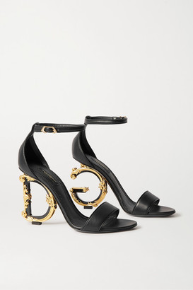 Dolce & Gabbana Embellished Leather Sandals - Black