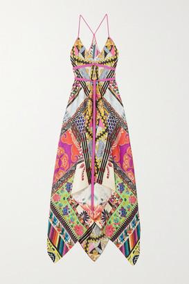 Etro Asymmetric Grosgrain-trimmed Printed Silk-twill Dress - Bright pink