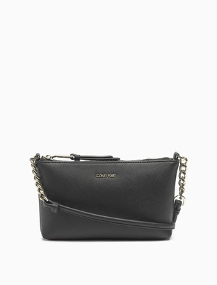 Calvin Klein Saffiano Leather Chainlink Crossbody Bag