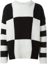 Ami Alexandre Mattiussi oversized checkerboard crew neck - men - Nylon/Wool/Alpaca - S