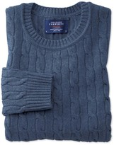 Charles Tyrwhitt Sky blue lambswool cable knit crew neck sweater