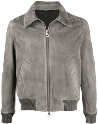 Ami Alexandre Mattiussi Zipped Classic Suede Jacket Dark Grey