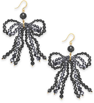 INC International Concepts Inc Gold-Tone Beaded Bow Chandelier Earrings