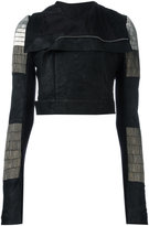 Rick Owens Glitter Biker jacket - women - Silk/Cotton/Lamb Skin/glass - 40