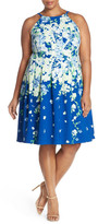 Adrianna Papell Floral Print High Neck Fit & Flare Dress (Plus Size)