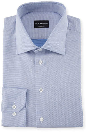 Giorgio Armani Micro-Structure Dress Shirt, Blue