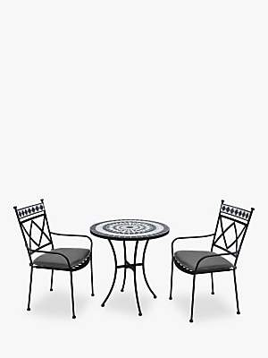 LG Electronics Outdoor Casablanca 2 Seater Garden Bistro Table and Chairs Set, Charcoal