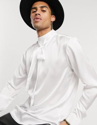 ASOS DESIGN regular fit tie front satin shirt in off white