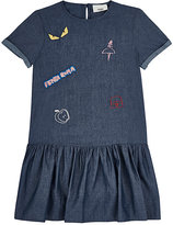 Fendi CHAMBRAY EMBROIDERED DROP-WAIST DRESS-BLUE SIZE 6