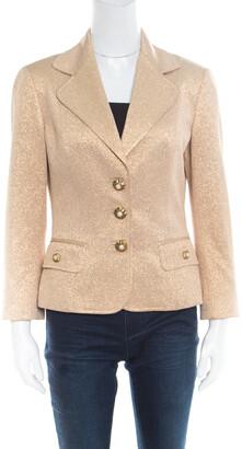 Dolce & Gabbana Matte Gold Cloque Faux Pearl Embedded Button Front Blazer M
